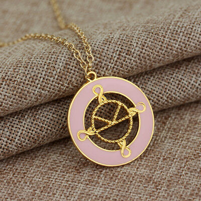 Kingsman The Golden Circle Logo Pink Pendant Necklace Chain Eggsy Galahad