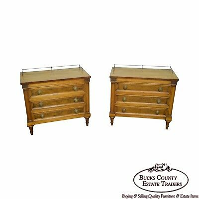 Karges Pair of Walnut French Louis XVI Style Chest Nightstands