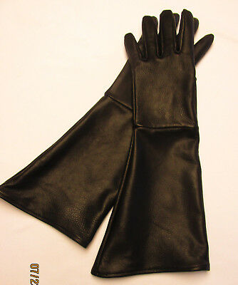 Men's Black Deerskin Leather Long Cuff Gauntlet Gloves  - Made In The Usa