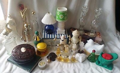 Lot of 30 Vintage Avon Glass Bottles & Collectibles
