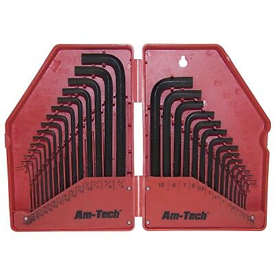 AMTECH 30pc HEX KEY SET ALLEN KEY METRIC WITH CASE HEAT TREATED