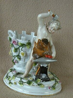 Antique Continental Sitzendorf Porcelain Flower Encrusted Basket Vase & Cherub