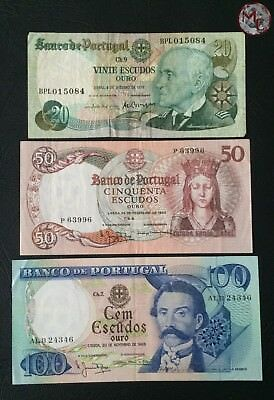 Portugal 3 Banknotes lot 20 - 50 - 100 escudos