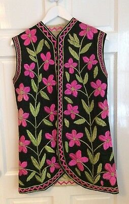 Vintage 1960s / 1970s Embroidered Floral Afghan Waistcoat