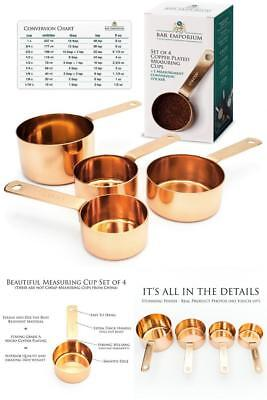 Copper Measuring Cup Set 4 Copper Plated Stainless Steel Measuring Cup Rust Resi