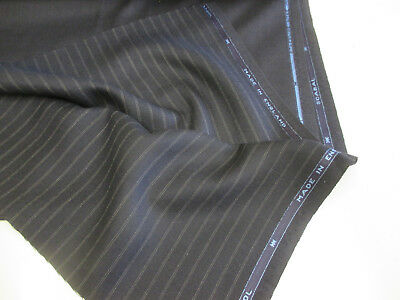 Navy Self Striped Pure Wool Scabal Mens Suiting/Suit Fabric. Superb Quality!