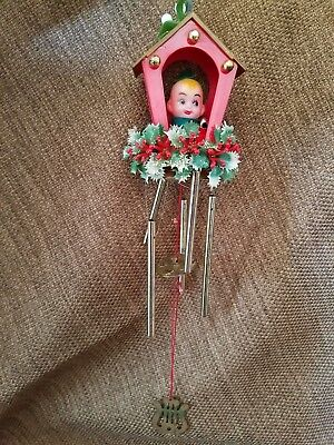 Vintage Pixie Sentry Christmas elf wind chime