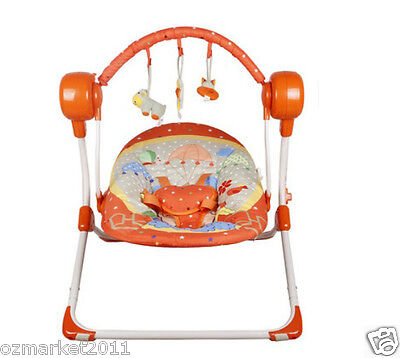 Fashion Orange Security Baby Swing Chair/Electric Rocking Chair+Charger JM