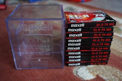 Retro Maxell XL Music II 74min Recordable MD Mini Discs x10 & Case, New & Sealed