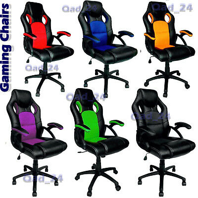 Gaming Chair Swivel PU Leather Mesh Office Racing Style Tilt Computer PC PS Desk