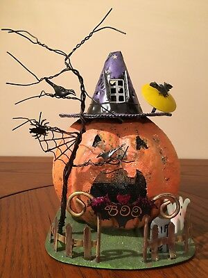 Haunted jack o39 lantern tree topper bethany lowe halloween for Kitchen cabinets lowes with candle holder tree