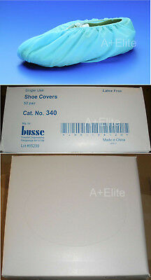 BUSSE 340 Blue Shoe Covers Standard Style 50/PR Dispenser Box Elastic Top LF New