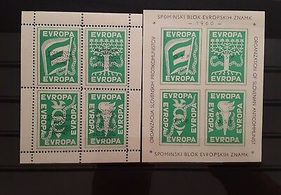 Slovenia 1960 EVROPA Anticommunist private sheet pair imperf MNH political issue