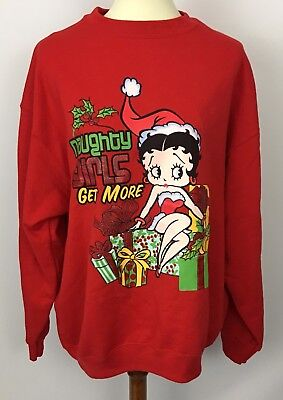 Betty Boop Red Sweatshirt Naughty Girls Get More Christmas Gifts Size XL NOS