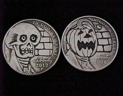 Dr. Death & The Wailing Creepy CP Halloween Carved folk art Hobo Nickel 1304