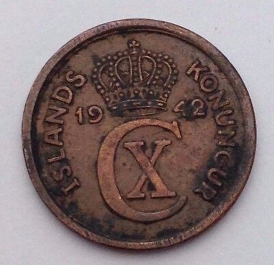 Dated : 1942 - Iceland - Island 1 Eyrir - Icelandic Coin
