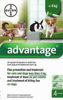 Advantage 40mg Spot-On Flea Solution Treatment for Cats/Dogs/Rabbits under 4kg