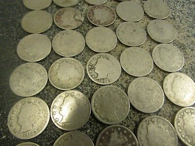 40 Liberty V-Nickels   All Have Good Readable Dates