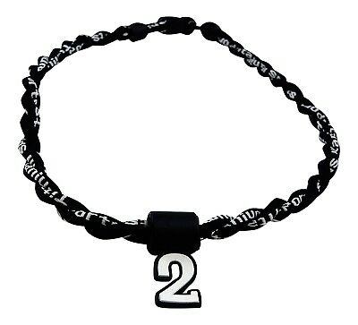 (Black) - Pick Your Number - Twisted Titanium Sports Tornado Necklace