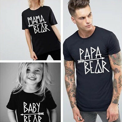 Mommy Daddy Kids Couple T-shirt Family Love Matching Tee Top Clothes Black Shirt