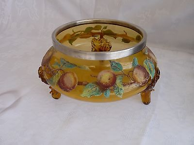 AMBER GLASS Footed Center Bowl CORALENE FRUIT PEACHES & LEAVES Patent Marked