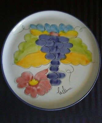 """Portugal Pottery Serving Plate 11"""" Signed on the Front 'Beautiful'"""