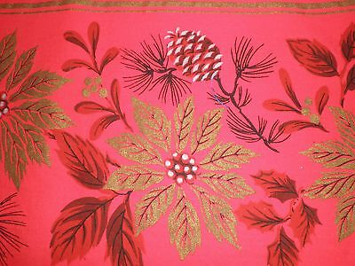 Vintage Bright Red Cotton Oval CHRISTMAS POINSETTIA TABLECLOTH,  83 x 56