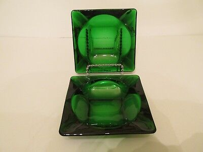 Pair Vintage Anchor Hocking Forest Green Glass Square Ashtrays