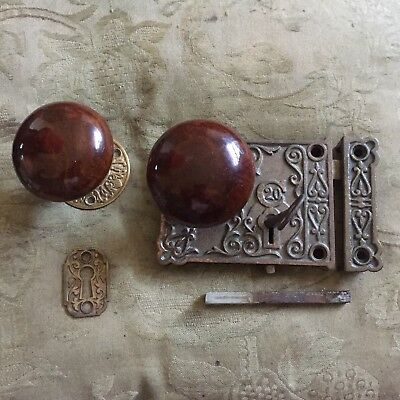Antique C20 Victorian Eastlake Era Decorative  Rim Lock & Skeleton Key #6