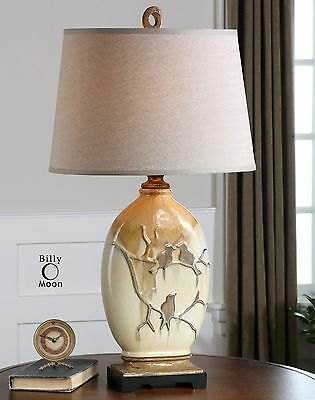 New Aged Ivory Ceramic Bronze Drip Table Lamp Birds On Branch White Linen Shade