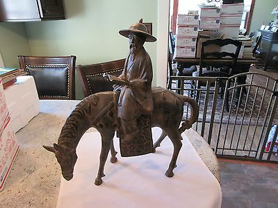 Vintage BRONZE SCULPTURE CHINESE MAN with book  ON A HORSE