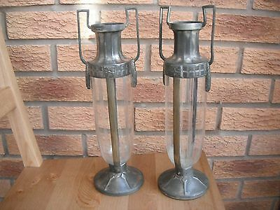 Pair of WMF silver plate and glass Art Deco vases