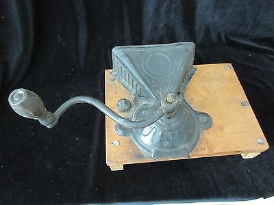 Antique J&e Parkers 1860 Hand Crank Cast Iron & Tin Wall Mount Coffee Grinder