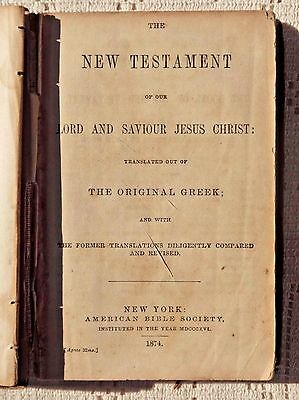 Antique 1874 Edition - Hymns & New Testament - American Bible Society New York