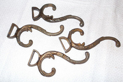 Set of 4 Vintage Decorative Metal Coat Hooks
