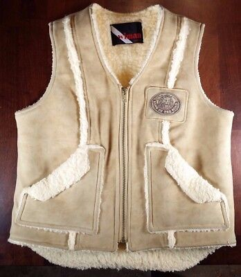 "Vintage WIMAN ""King of the Road"" FAUX Sheepskin Leather Vest Size Medium"