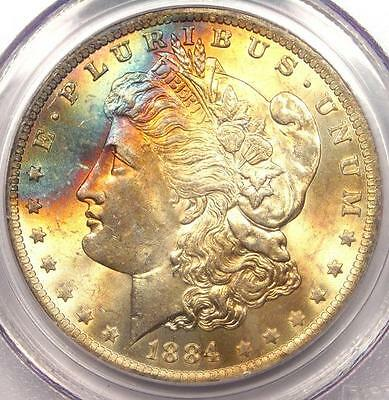 1884-O Toned Morgan Silver Dollar $1 - PCGS MS63 - Nice Rainbow Toning!
