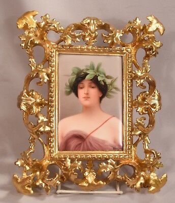 Antique Painting on Porcelain of a Maiden Wearing a Laurel Wreath Signed Wagner