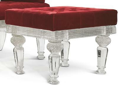 A Cut-Glass And Silvered Metal Stool In The Manner Of Osler 20Th Century |
