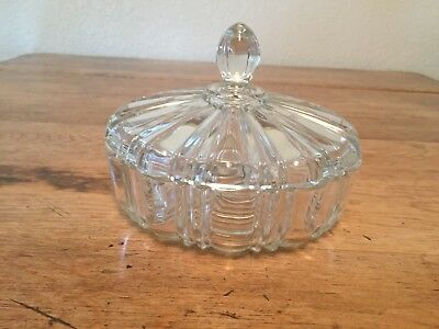 Candy Dish Clear Glass  W/lid