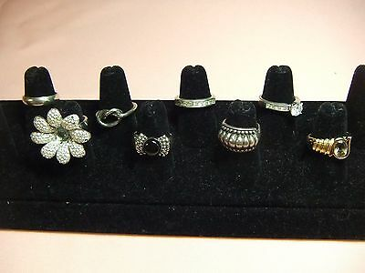 8 Vintage Sterling Silver Rings Lot HE Sterling Engagement Knot Smoky Band 45.2g