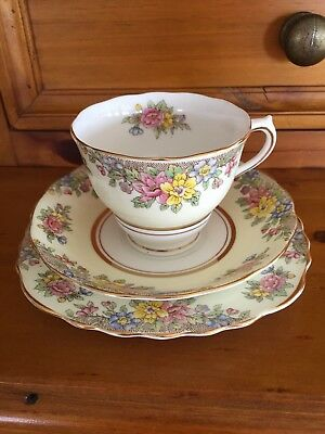 Colclough Yellow and Floral Trio Great Condition