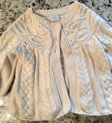 Girls Baby Gap Cream Cable Cardigan 6-12 Months