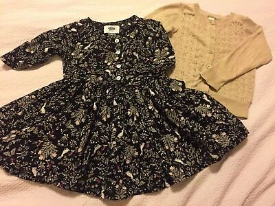 Lot Old Navy 2T Fall/Spring Dress With 18 Month Gold Sparkle Cardigan Sweater