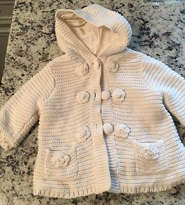 Baby Girls Cotton Hooded Cardigan By Fresh Impressions Size 6-9 Months