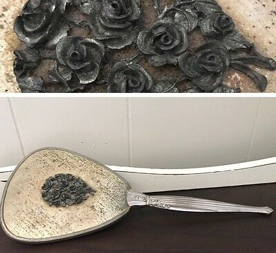 Vintage VANITY Hand Held Floral Ornate MIRROR Antique Silver Finish Heavy Roses