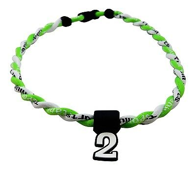 (Neon Green White) - Pick Your Number - Twisted Titanium Sports Tornado Necklace