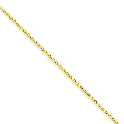 1.2mm, 14k Yellow Gold, Round Solid Wheat Chain Necklace, 16 Inch