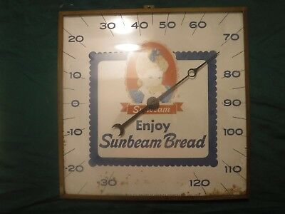 Vintage 1970 SUNBEAM BREAD Bubble Glass Advertising Thermometer. Works