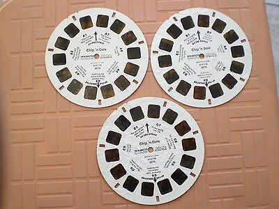 3 view master reels A.B.C with bubble damages on reels B and C Chip`n Dale